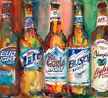 Bud light Miller Lite Coors Light Busch Light Yuengling Light Combo Beer Art Print by Dorrie  Rifkin