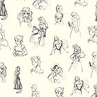 Sketched Princesses by lunalalonde
