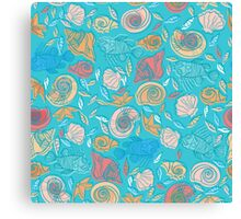 Shells and Fish Pattern Canvas Print