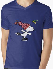 Snoopy Skating Mens V-Neck T-Shirt