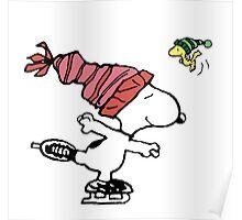 Snoopy Skating Poster