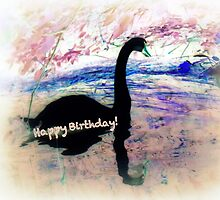 Swanning a Birthday Greeting  by Angele Ann  Andrews