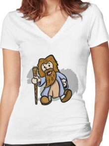 Vintage Plays with Squirrels Women's Fitted V-Neck T-Shirt