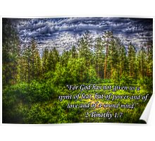 HDR Mountain Forest w/Scripture Poster