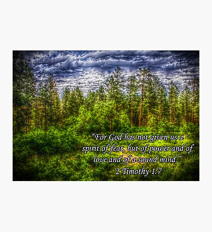 HDR Mountain Forest w/Scripture Photographic Print