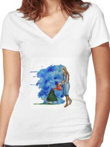 Waiting for Christmas Women's Fitted V-Neck T-Shirt