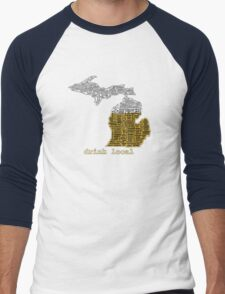 Drink Local (MI) (with Outline) Men's Baseball ¾ T-Shirt