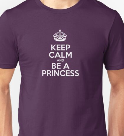 Keep Calm and Be a Princess - Pink Leather Unisex T-Shirt