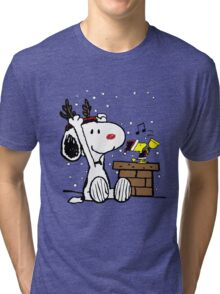 Snoopy and Woodstock Christmas Tri-blend T-Shirt
