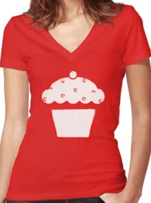 grunge cupcake Women's Fitted V-Neck T-Shirt