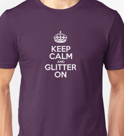 Keep Calm and Glitter On - Pink Leather Unisex T-Shirt