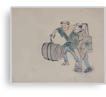 Two men walking one carrying a shoulder pole with barrel like containers the other carries a long handled mallet 001 Canvas Print