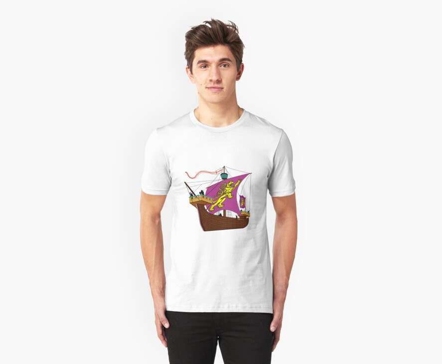 A 13th century English Fighting Ship T-shirt by Dennis Melling