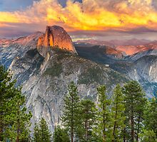 Sunset over Half Dome - Yosemite National Park by Kimball Chen