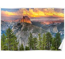Sunset over Half Dome - Yosemite National Park Poster
