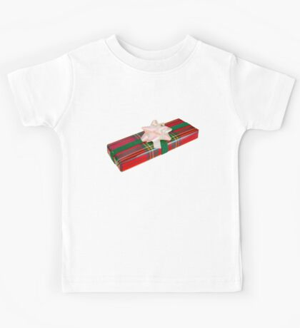 Wrapped Gift With Tartan Paper Kids Tee
