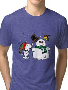 Snoopy Snowman Tri-blend T-Shirt