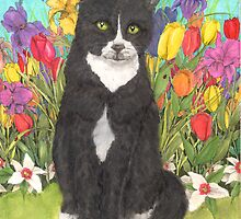 Tuxedo Cat Spring Flowers Animal Art Cathy Peek by Cathy Peek