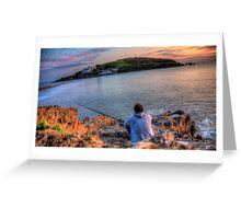 Fishing off the Rocks, Burgh Island, Bigbury on Sea Greeting Card