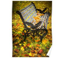 Bench in the Fall (Spokane) Poster