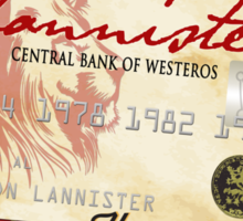 Game of Thrones Inspired - Lannister Always Pays Your Debts - House Lannister Parody Credit Card Sticker