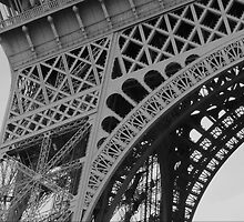Eiffel Tower Up Close (B&W) by maplewellsphoto
