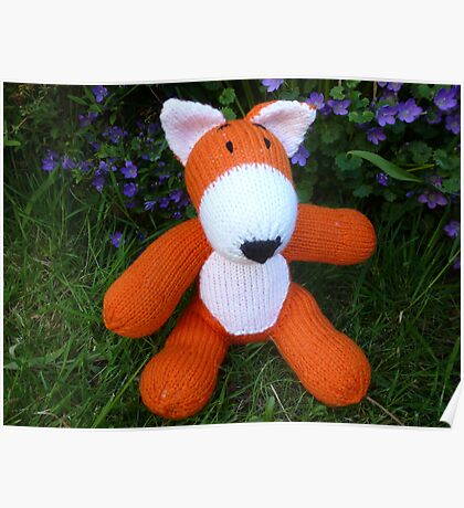 Hand knitted little fox Poster