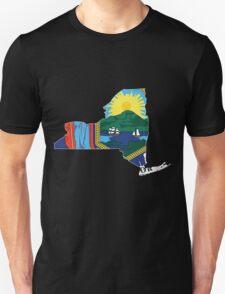 New York Flag [Wht] | State Line | SteezeFSC T-Shirt