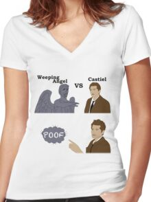 Weeping Angel VS Castiel Women's Fitted V-Neck T-Shirt