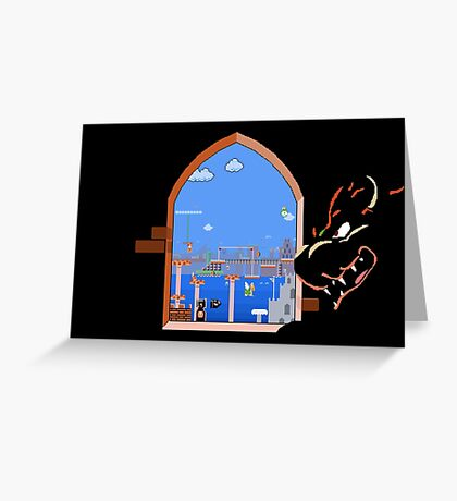 Our Hero Approaches (Black Background) Greeting Card