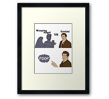 Weeping Angel VS Castiel Framed Print