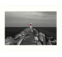 Irondequoit Bay Lighthouse Pier in Black & White with Splash of Red Art Print