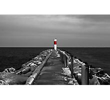 Irondequoit Bay Lighthouse Pier in Black & White with Splash of Red Photographic Print