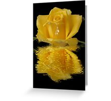 Yellow rose water reflection blank note card - any occasion card Greeting Card