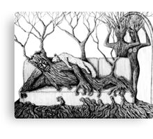 Life of Trees surreal ink pen drawing on paper Canvas Print
