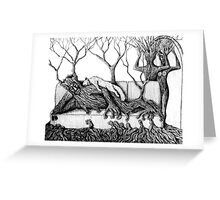 Life of Trees surreal ink pen drawing on paper Greeting Card