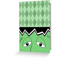 Cartoon Frankenstein Monster Face Greeting Card