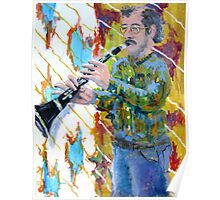 Man playing a clarinet Poster