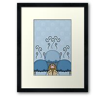 Cute Monster With Blue Frosted Cupcakes Framed Print