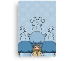 Cute Monster With Blue Frosted Cupcakes Canvas Print