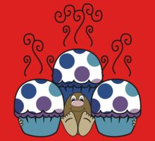 Cute Monster With Blue And Purple Polkadot Cupcakes Kids Tee