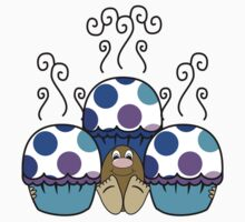 Cute Monster With Blue And Purple Polkadot Cupcakes Kids Clothes
