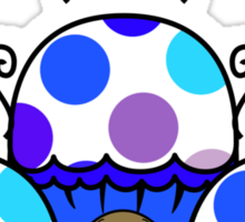 Cute Monster With Blue And Purple Polkadot Cupcakes Sticker