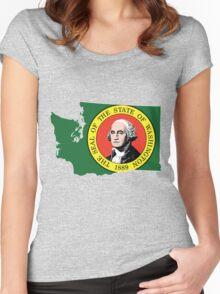 Washington State Rasta [Wht] | SteezeFSC Women's Fitted Scoop T-Shirt