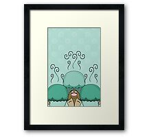 Cute Monster With Cyan Frosted Cupcakes Framed Print