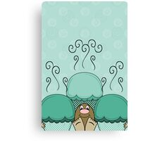 Cute Monster With Cyan Frosted Cupcakes Canvas Print