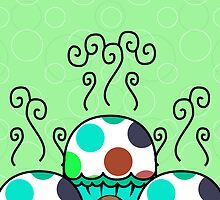 Cute Monster With Cyan And Blue Polkadot Cupcakes by mydeas