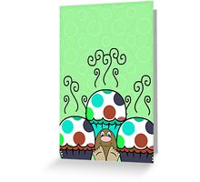 Cute Monster With Cyan And Blue Polkadot Cupcakes Greeting Card
