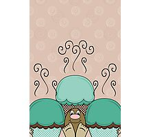 Cute Monster With Cyan And Orange Frosted Cupcakes Photographic Print