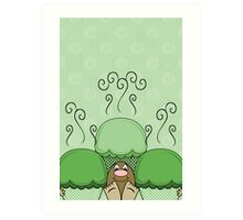 Cute Monster With Green Frosted Cupcakes Art Print
